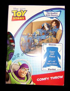 Toy Story 3 Comfy Throw Fleece Blanket with Sleeves Woody Buzz New 48x48 Kids