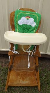 Vintage Antique Folding Wood High Chair Art Deco Bear Turns Into Table Highchair