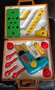 Vintage Retro 1970's Fisher Price Tool Kit Kids Toy Tool Box