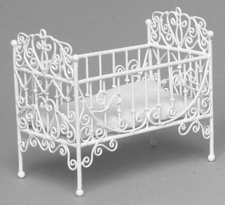 Doll House Mini Wire Victorian Baby Crib Bed Furniture w Mattress