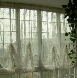 French Country Embroidered Balloon Shade Sheer Voile Cafe Kitchen Curtain E11