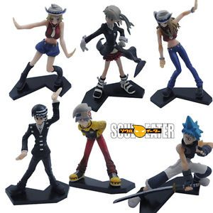 Japan Anime Soul Eater Death Kid Scythe PVC Toy Action Figure Cosplay Set 6pc