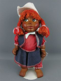 """Signed Naber Kids Baby """"Polli"""" Cowgirl Doll Wooden 1995"""