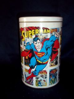 Superman Kids Room Toy or Trash Tin Bucket w Lid Comic Book Heros Collectors
