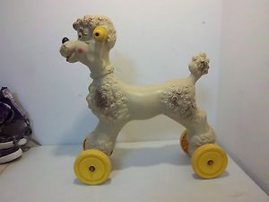 Vintage Empire Plastic Blow Mold Riding Wheel Poodle Dog Pull Toy Kids Child