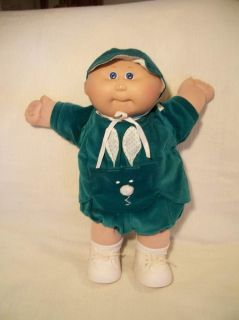Vtg Head Mold 1 Cabbage Patch Kids Bald Boy Doll Green Velvet Bunny Outfit EC
