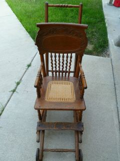 Antique Vintage EARLY1800's Wooden Baby Stroller High Chair Combo Metal Wheels