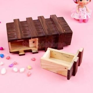 Vintage Wooden Secret Magic Puzzle Drawer Box Kids Fun