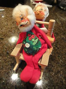 Vintage Annalee Christmas Doll Mr Mrs Claus in Rocking Chair