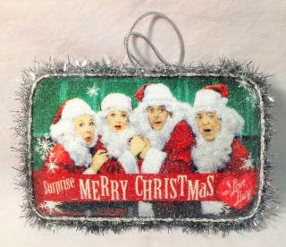 "Kurt Adler 6"" I Love Lucy ® Decoupage Beaded Postcard Christmas Ornament LU9131"