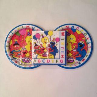 Sesame Street Elmo Big Bird Cookie Monster Birthday Party Paper Plates Napkins