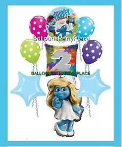 Smurfs Party Balloons 2nd Birthday Smurfette Polka Dots