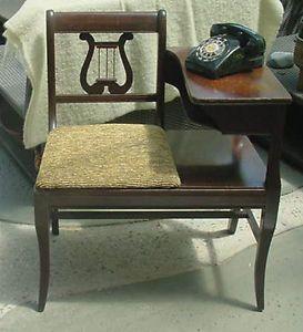 Harp Chair Art Deco Gossip Table Telephone Bench Phone Mahogany Stand Ethen Alan