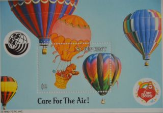 Vintage 1992 Lot of 2 Care Bear Postage Stamp Souvenir Sheets Tenderheart Friend