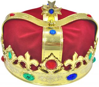 Gold Royal Crown King Queen Prince Costume Medieval Renaissance Accessory Adult