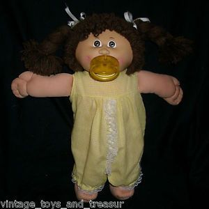 Vintage Cabbage Patch Kids Baby Doll Long Brown Hair Girl Stuffed Animal Plush A