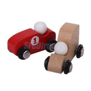 5pcs Wooden Car Decorative Toy for Kids Red or Wood Color Handmade Handc​rafted