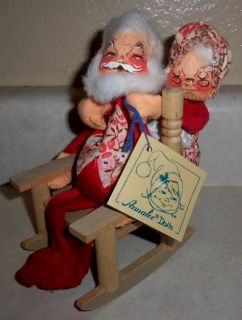 Annalee Santa Mrs Claus in Rocking Chair 1971 with Tag Mobilitee Christmas