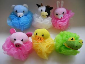 Lot of 6 Kids Toy Pouf Puff Mesh Bath Sponges with Stuffed Animal Loofah New