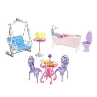Disney Princess Doll ROYAL CASTLE Dining Bathroom Patio Furniture Barbie Set NEW