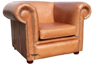 Chesterfield Berkeley Club Chair Sofa Hand Dyed Old English Tan Leather Armchair