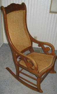 Vintage Cane Back Rattan Rocking Chair Famous Conant Ball Furniture Cottage