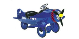 New Childrens Kids Ride on Corsair Blue Pedal Plane Car Toy WWII 8001CA