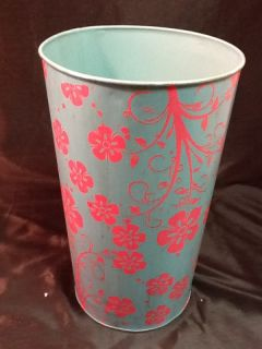 Blue and Pink Metal Decoupage Handmade French Bucket Perfect for Flower Pail