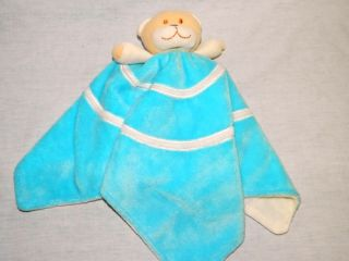 Blankets Beyond Baby Nunu Blue w White Swirl Tan Teddy Bear Security Blanket