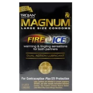 Trojan Magnum Fire and Ice Large Size Condoms 10 Pack
