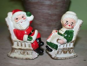 Estate Vintage Santa Claus and Mrs Claus Rocking Chair Salt Pepper Shakers