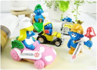 New 5 Pcs Lovly PVC Racing Car Smurfs Collection Figure