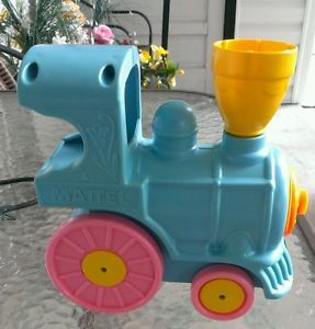 Vintage 1981 Mattel Wind Up Music Box Baby Toy Crib Rail Runner Choo Choo Train