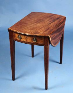 Antique English Mahogany Pembroke Drop Leaf Side Lamp Table w Drawer