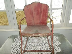RARE Antique Metal Childs Rocker Lawn Patio Porch Chair Shell Back Mid Century