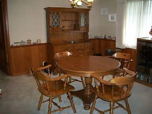 ... Ethan Allen Dining Room Table 4 Chairs With Stunning Hutch Fine  Condition ...