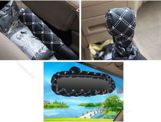 3in 1 White Stitch Car Auto Gear Shift Knob Hand Brake Rearview Mirror Cover Set