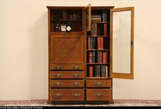 English grained 1890 Antique Victorian Secretary Desk