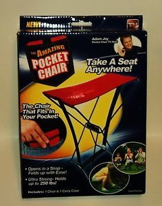 As Seen on TV Amazing Pocket Chair Includes Carry Case Fits in Pocket