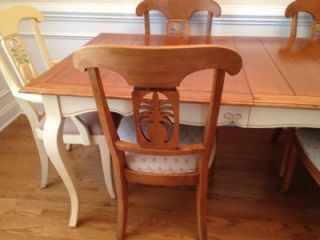 Ethan Allen French Country Legacy Collection Dining Room Table and Chairs