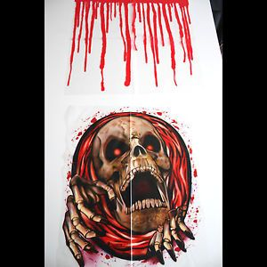 Bloody Horror Skeleton Toilet Seat Lid Cover Halloween Party Bathroom Decoration
