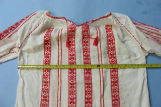 Vintage Red Gold Embroidered Romanian Folk Peasant Ethnic Blouse Costume Pretty