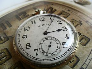 1917 Illinois 21 Jewel Adjusted Open Face Pocket Watch 25Y Gold Filled Case