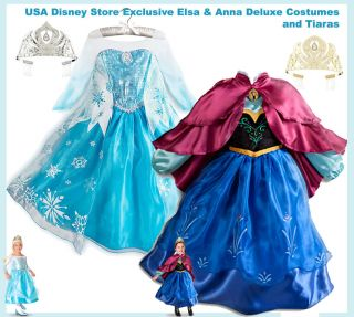 Disney Store Costume Elsa Anna Frozen Princess Fancy Dress Girl Sz 5 6 Tiara