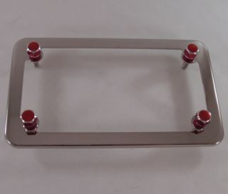Chrome Motorcycle License Plate Tag Frame 4 Red Billet Hex Lic Fastener Bolts