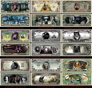 Complete Set of Horror Movie Dollar Bills 9 Bills