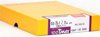 Kodak TMAX 100 Black White 5x7 Film 50 Sheets 13x18 Format View Camera T Max