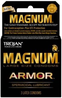 Trojan Magnum Armor Spermicidal Large Condoms 3 Pack