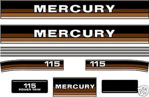 1984 1985 Mercury 115 Outboard Decals 90 HP Available