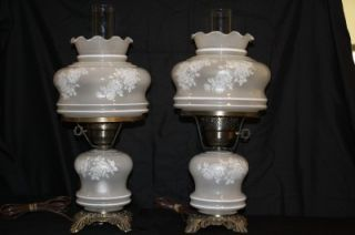 "Vintage Set of 2 "" Gone with The Wind"" Hurricane Lamps White Frosted w Roses"